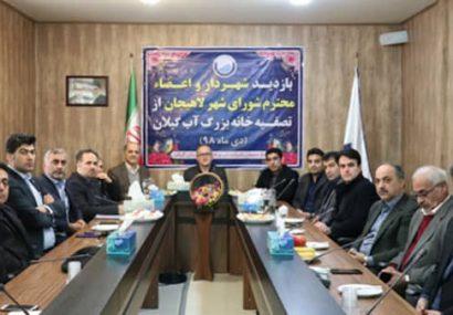 اعضاء شورای اسلامی شهر لاهیجان از تصفیه خانه بزرگ آب گیلان بازدیدکردند